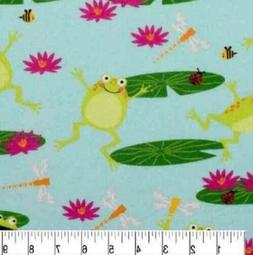 1 1/4 yards Super Snuggle Leap Frogs on Lily Pads Cotton Fla
