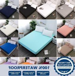 100% Waterproof Mattress Cover Solid Color Fitted Sheet Mach