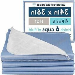 4 Pack of Washable Bed Pads for Incontinence, 34x36 Inches -