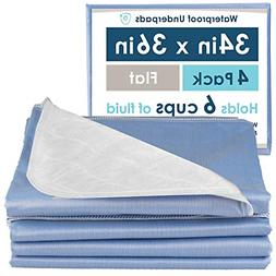 4 Pack Washable Bed Pads for Incontinence Reusable Waterproo