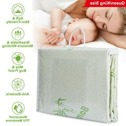 Bamboo Mattress Cover Waterproof Deep Fitted Bed Pad Protect