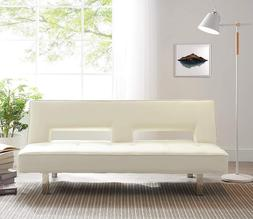 Futon Sleeper Sofa Bed Couch Dorm Reclining Daybed Cream Lea