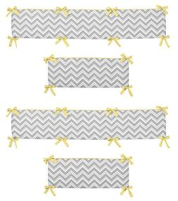 Gray and Yellow Zig Zag Collection Crib Bumper by Sweet Jojo