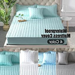 Waterproof Washable Cotton Quilted Fitted Mattress Pad Cover